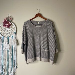 Eileen Fisher Oversized Striped Linen Top Size M